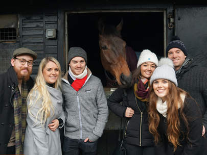 Owners meeting their horse